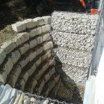 Abböschung Gabionen Natursteinmauer